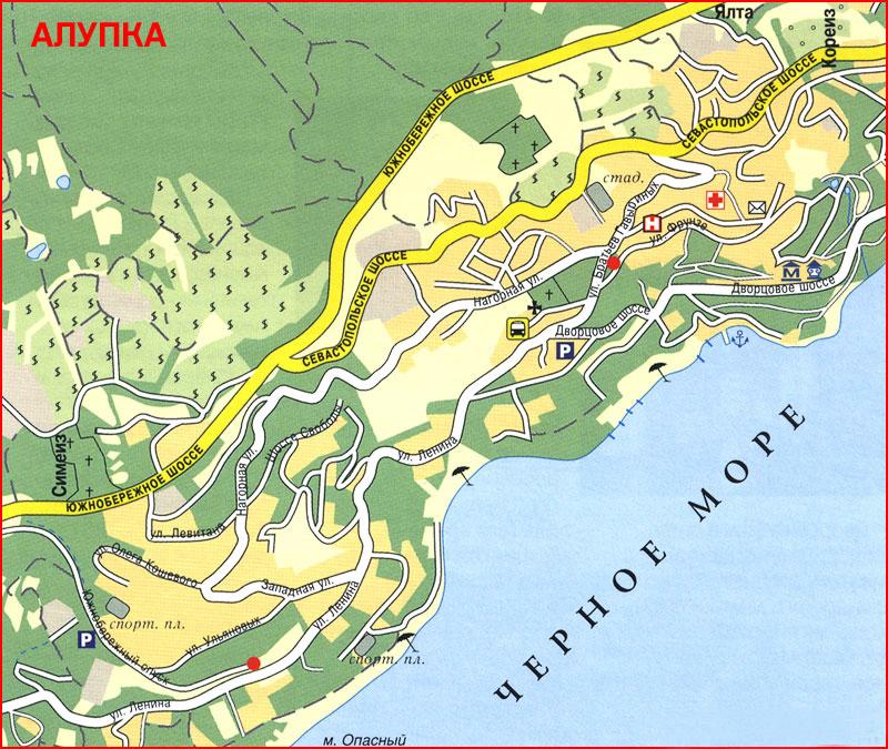 Еще одна карта-схема Алупки с